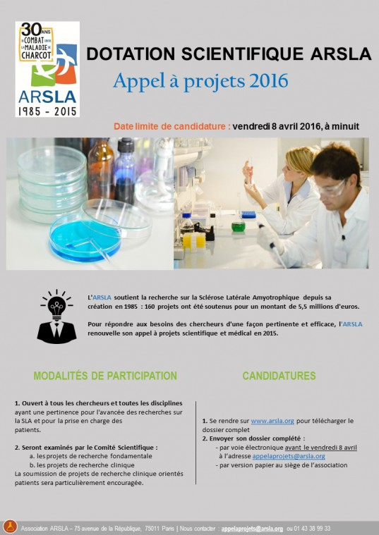 Dotation scientifique 2016 ARSLA
