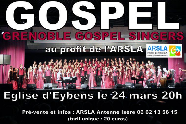 Affiche concert Gospel Eybens - 24 mars 20h au profit de l'ARSLA