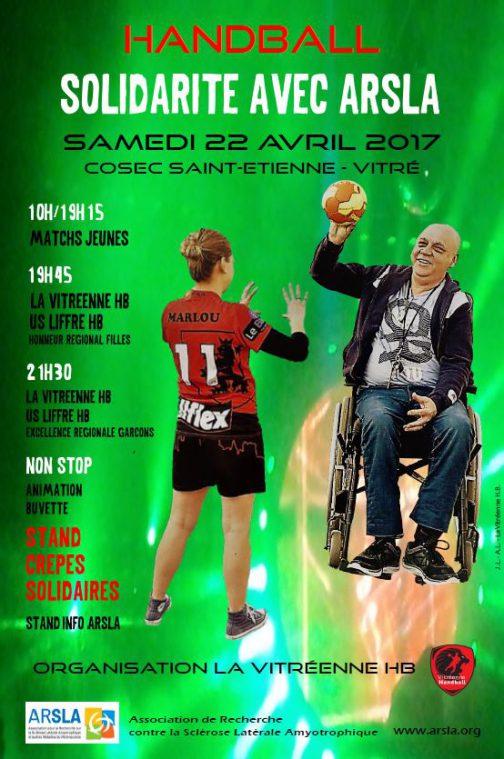 Affiche journée solidarité Handball - 22 avril 2014 - Vitré