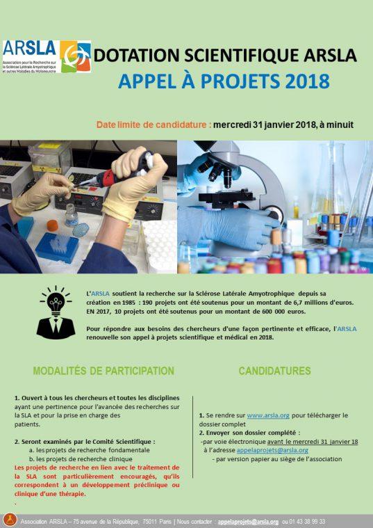 appel à projets scientifique et médical ARSLA 2018
