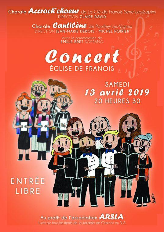 Concert de chorale à l'église de Franois le 13 avril 2019 ARSLA Maladie de charcot