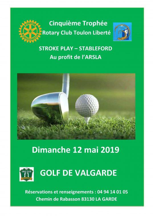 Tournoi de golf par le rotary club toulon liberté le 12 mai - ARSLA maladie de Charcot